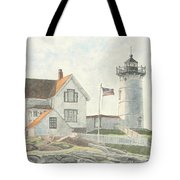 Sunrise At Nubble Light Tote Bag by Dominic White