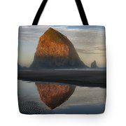 Sunrise on Haystack Rock - Oregon Tote Bag by Sandra Bronstein