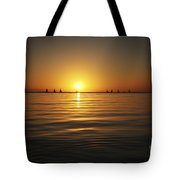 Sunset And Sailboats Tote Bag by Brandon Tabiolo - Printscapes