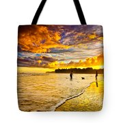 Sunset At The Coast Tote Bag by Iris Greenwell