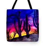 Sunset On Cactus Tote Bag by Michael Grubb
