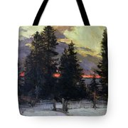 Sunset over a Winter Landscape Tote Bag by Abram Efimovich Arkhipov