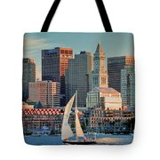 Sunset Sails On Boston Harbor Tote Bag by Susan Cole Kelly