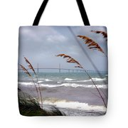 Sunshine Skyway Bridge Viewed From Fort De Soto Park Tote Bag by Mal Bray