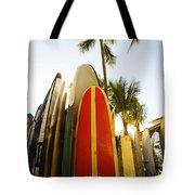Surfboards At Waikiki Tote Bag by Dana Edmunds - Printscapes