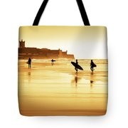 Surfers Silhouettes Tote Bag by Carlos Caetano