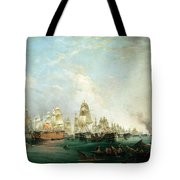 Surrender Of The Santissima Trinidad To Neptune The Battle Of Trafalgar Tote Bag by Lieutenant Robert Strickland Thomas