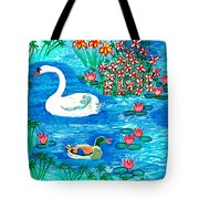 Swan And Duck Tote Bag by Sushila Burgess