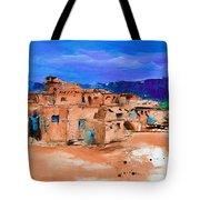 Taos Pueblo Village Tote Bag by Elise Palmigiani