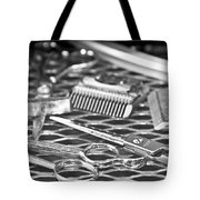 The Barber Shop 10 Bw Tote Bag by Angelina Vick
