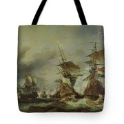 The Battle Of Texel Tote Bag by Louis Eugene Gabriel Isabey