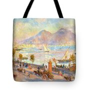 The Bay of Naples with Vesuvius in the Background Tote Bag by Pierre Auguste Renoir