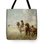 The Bison Hunters Tote Bag by Nathaniel Hughes John Baird