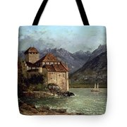 The Chateau De Chillon Tote Bag by Gustave Courbet