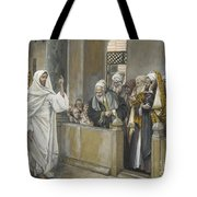 The Chief Priests Ask Jesus By What Right Does He Act In This Way Tote Bag by James Jacques Joseph Tissot