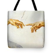 The Creation Of Adam Tote Bag by Michelangelo Buonarroti