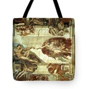 The Creation Of Adam Tote Bag by Michelangelo