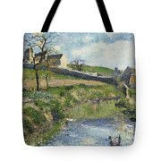 The Farm At Osny Tote Bag by Camille Pissarro