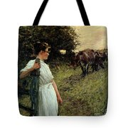 The Farmer's Daughter Tote Bag by Henry Herbert La Thangue