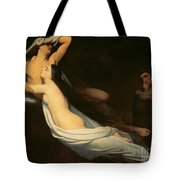 The Figures Of Francesca Da Rimini And Paolo Da Verrucchio Appear To Dante And Virgil Tote Bag by Ary Scheffer