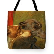 The Greyhounds Charley and Jimmy in an Interior Tote Bag by John Frederick Herring Snr