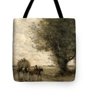 The Haycart Tote Bag by Jean Baptiste Camille Corot