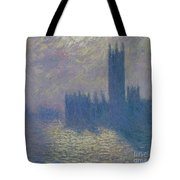 The Houses Of Parliament Stormy Sky Tote Bag by Claude Monet