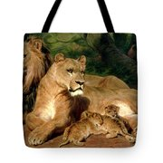 The Lions At Home Tote Bag by Rosa Bonheur