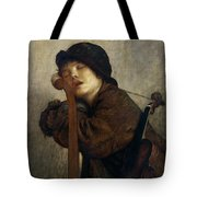 The Little Violinist Sleeping Tote Bag by Antoine Auguste Ernest Hebert