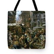 The Market Of Verona Tote Bag by Adolph Friedrich Erdmann von Menzel