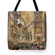 The Miracle Of The Liquefaction Of The Blood Of Saint Januarius Tote Bag by Giacinto Gigante