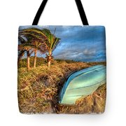 The Old Blue Boat Tote Bag by Debra and Dave Vanderlaan