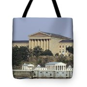 The Philly Art Museum And Waterworks Tote Bag by Bill Cannon