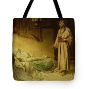The Raising Of Jairus's Daughter Tote Bag by George Percy Jacomb-Hood