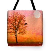 The Raven and The Moon Tote Bag by Wingsdomain Art and Photography