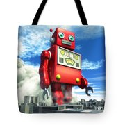 The Red Tin Robot And The City Tote Bag by Luca Oleastri