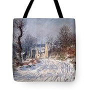 The Road to Giverny in Winter Tote Bag by Claude Monet