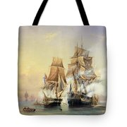 The Russian Cutter Mercury Captures The Swedish Frigate Venus On 21st May 1789 Tote Bag by Aleksei Petrovich Bogolyubov