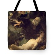 The Sacrifice Of Abraham Tote Bag by Rembrandt