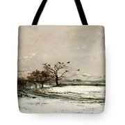 The Snow Tote Bag by Charles Francois Daubigny