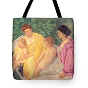 The Swim Or Two Mothers And Their Children On A Boat Tote Bag by Mary Stevenson Cassatt