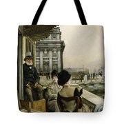 The Terrace Of The Trafalgar Tavern Greenwich Tote Bag by James Jacques Joseph Tissot