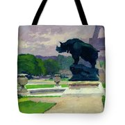 The Trocadero Gardens And The Rhinoceros Tote Bag by Jules Ernest Renoux
