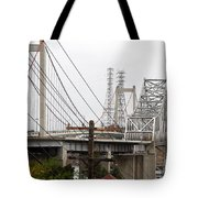 The Two Carquinez Bridges At Crockett And Vallejo California . Aka Alfred Zampa Memorial Bridge . 7d8919 Tote Bag by Wingsdomain Art and Photography