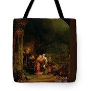 The Visitation Tote Bag by  Rembrandt Harmensz van Rijn
