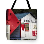 This Way For Strawberries Tote Bag by David Lee Thompson