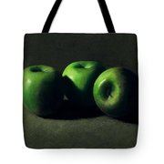 Three Green Apples Tote Bag by Frank Wilson