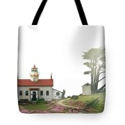 Tides Of Battery Point Lighthouse - Northern Ca Tote Bag by Christine Till