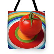 Tomato On Plate With Circles Tote Bag by Garry Gay