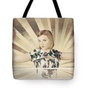 Tough Vintage Boxing Girl Winning Round In Gloves Tote Bag by Jorgo Photography - Wall Art Gallery